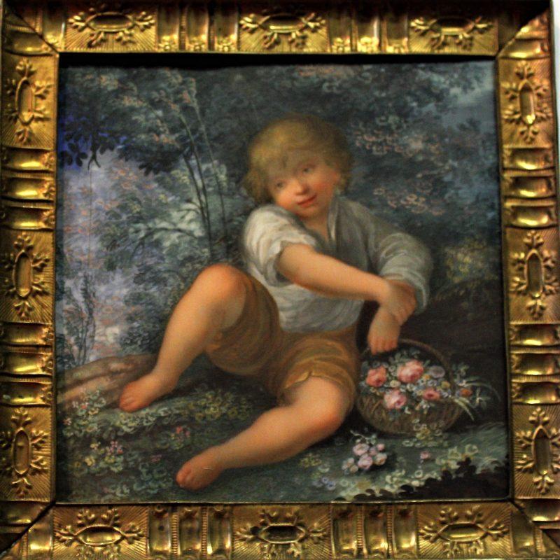 Anna Campori Seghizzi Pastorello con cesto di fiori dapres l Allegoria della primavera di Francesco Vellani1812 ca tempera su avorio cm 11 x 11i